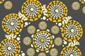 Eyes of the World Grey-Yellow cotton sateen (width 279 cm)