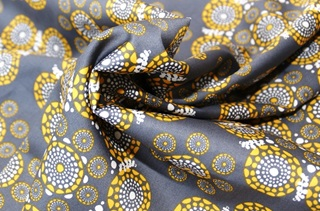 Picture of Eyes of the World Grey-Yellow cotton sateen